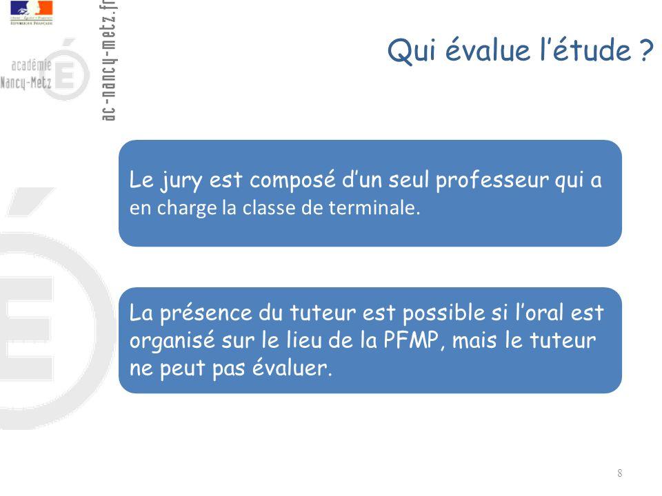 Qui évalue l'étude Le jury est composé d'un seul professeur qui a en charge la classe de terminale.