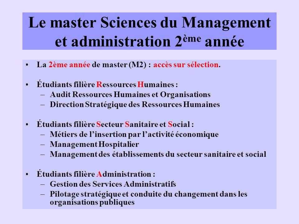 Le master Sciences du Management et administration 2ème année