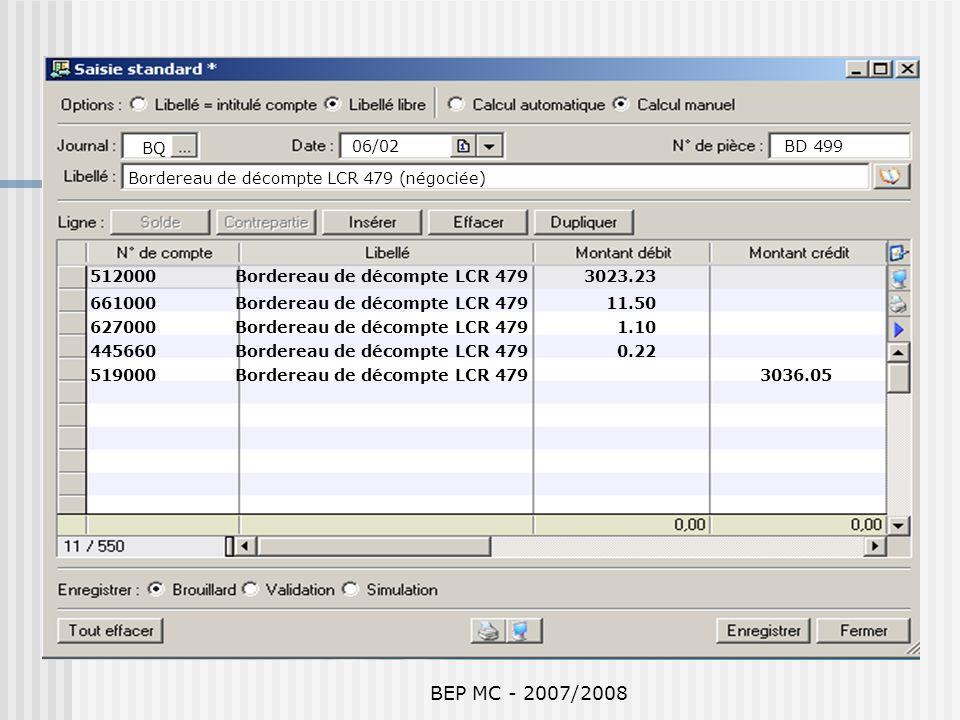 BQ 06/02. BD 499. Bordereau de décompte LCR 479 (négociée) 512000 Bordereau de décompte LCR 479 3023.23.
