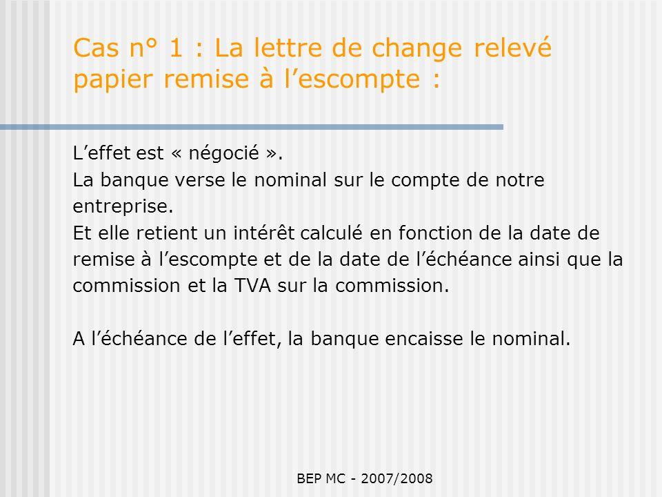 Cas n° 1 : La lettre de change relevé papier remise à l'escompte :