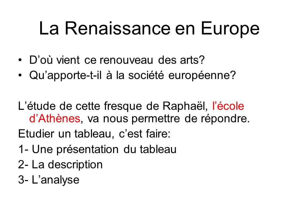 La Renaissance en Europe