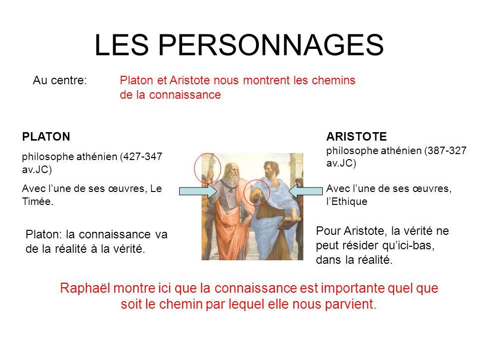 LES PERSONNAGES Au centre: Platon et Aristote nous montrent les chemins de la connaissance. PLATON.