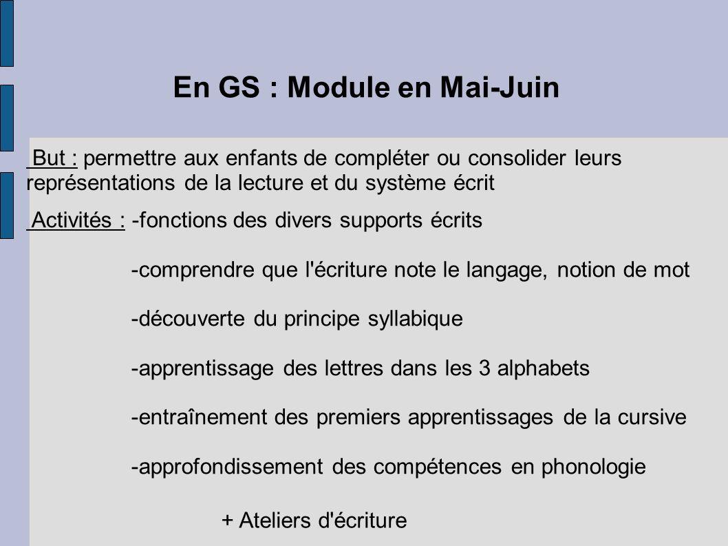 En GS : Module en Mai-Juin
