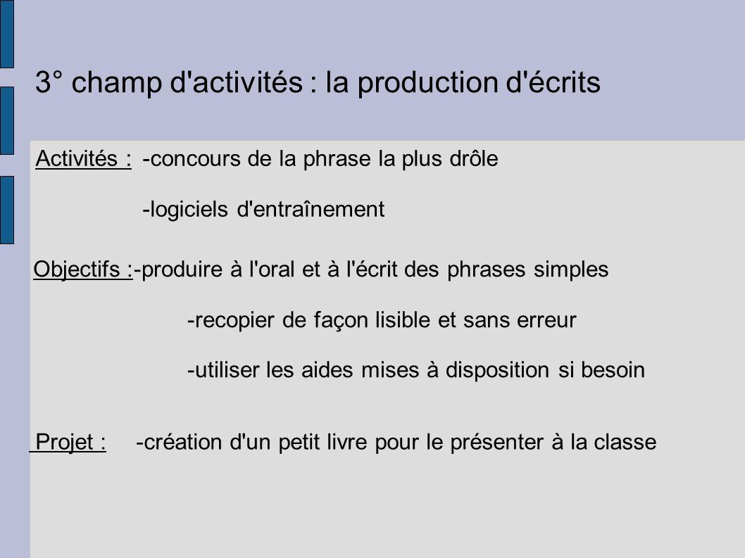 3° champ d activités : la production d écrits