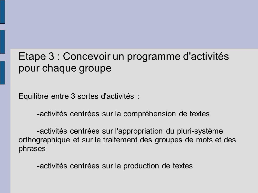 Etape 3 : Concevoir un programme d activités pour chaque groupe