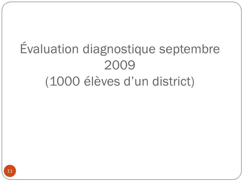 Évaluation diagnostique septembre 2009 (1000 élèves d'un district)
