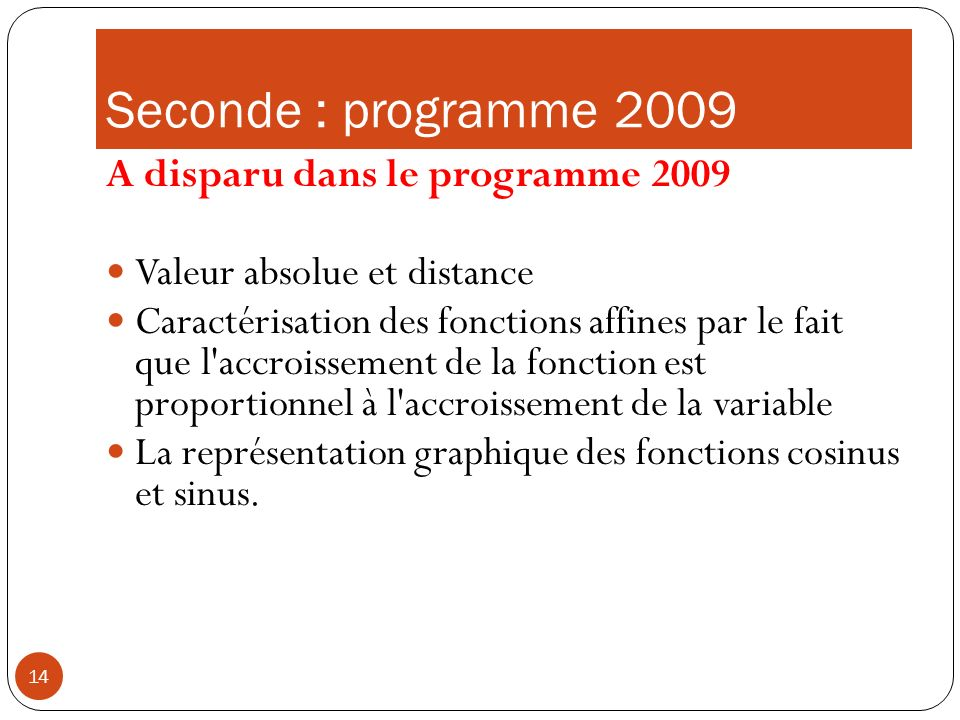 Seconde : programme 2009 A disparu dans le programme 2009