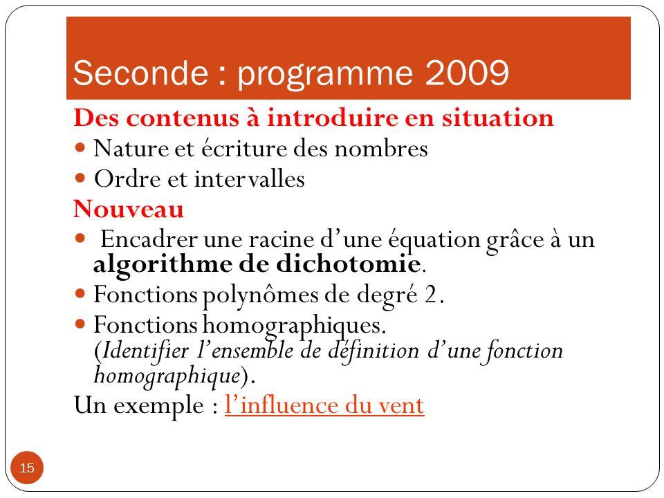 Seconde : programme 2009 Des contenus à introduire en situation