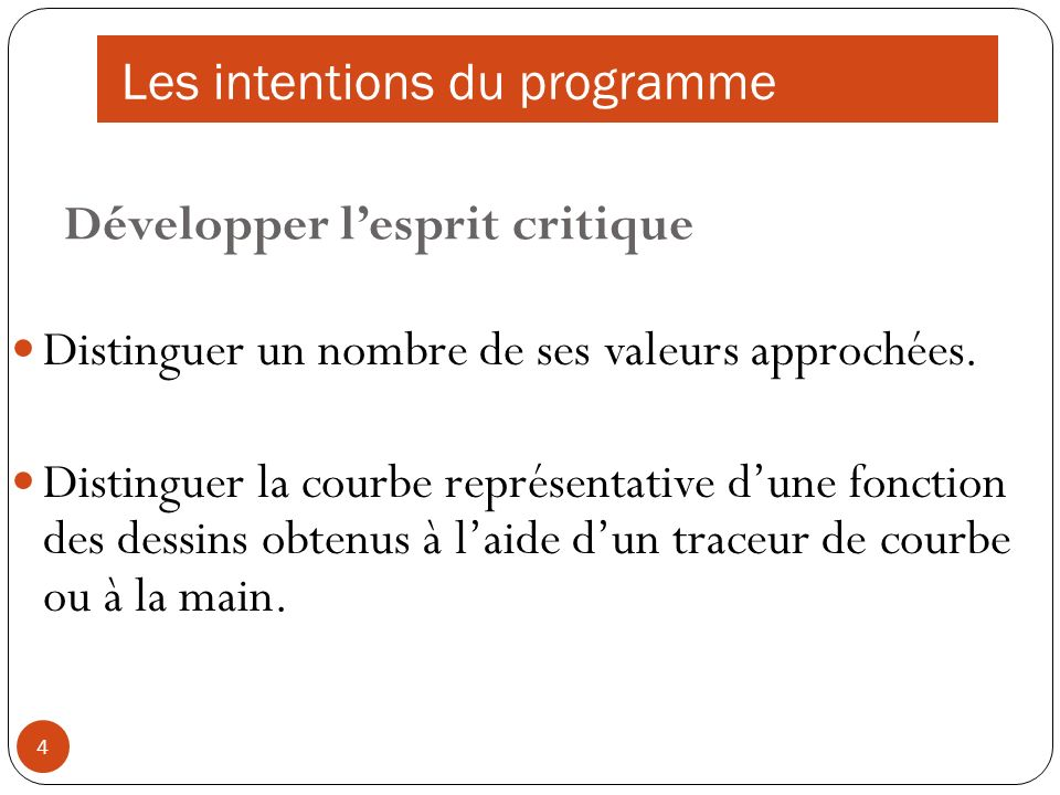 Les intentions du programme