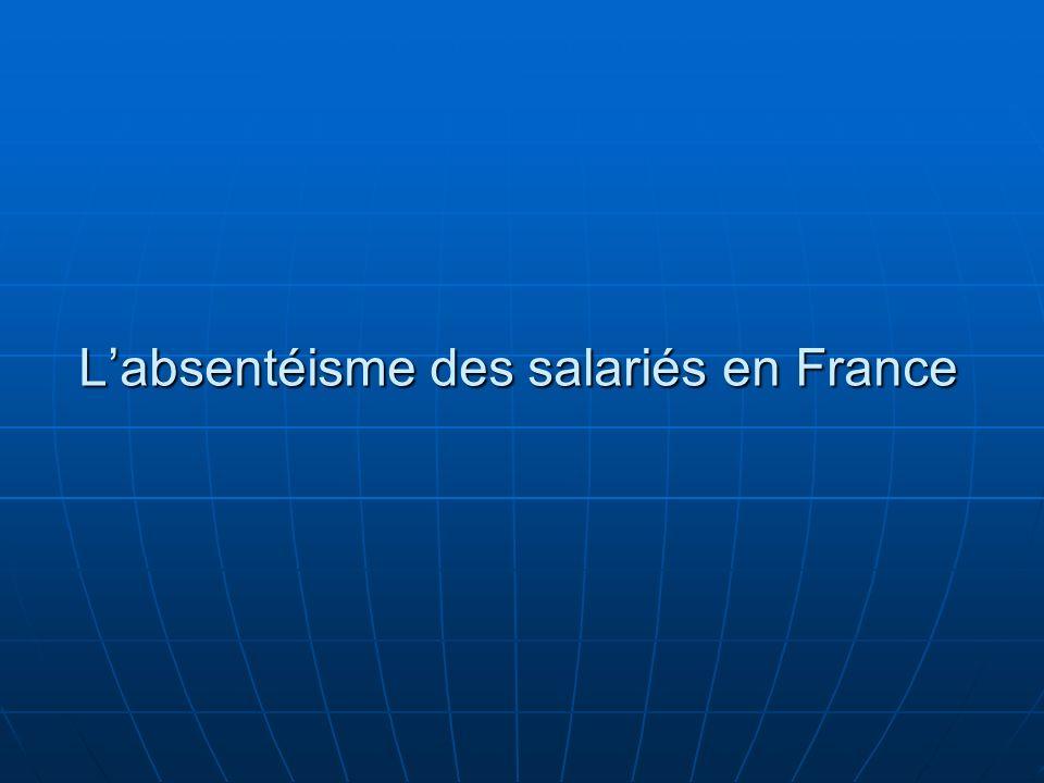 L'absentéisme des salariés en France