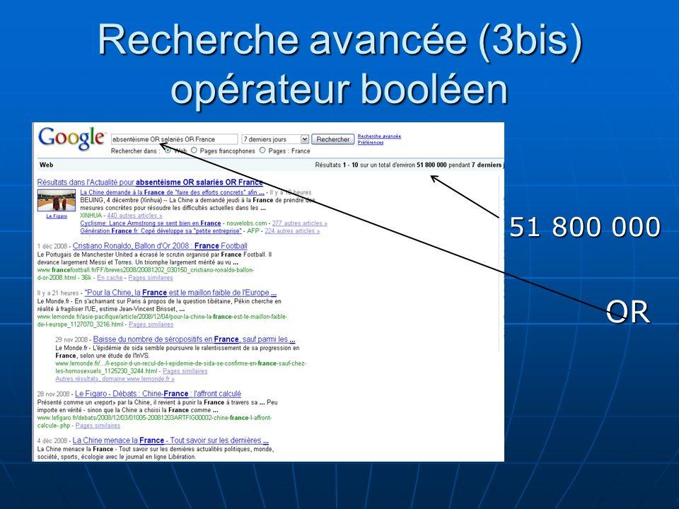 Recherche avancée (3bis) opérateur booléen