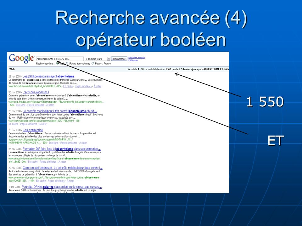 Recherche avancée (4) opérateur booléen