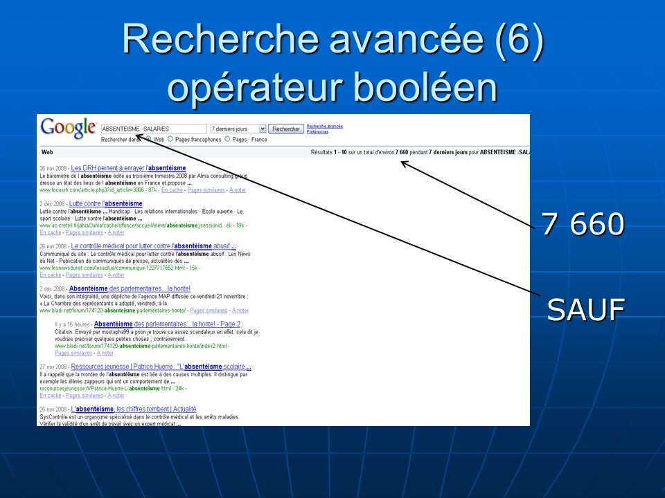 Recherche avancée (6) opérateur booléen