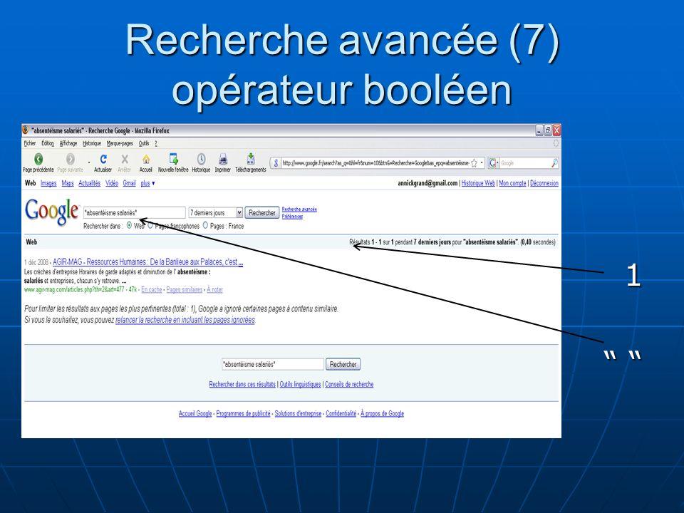 Recherche avancée (7) opérateur booléen