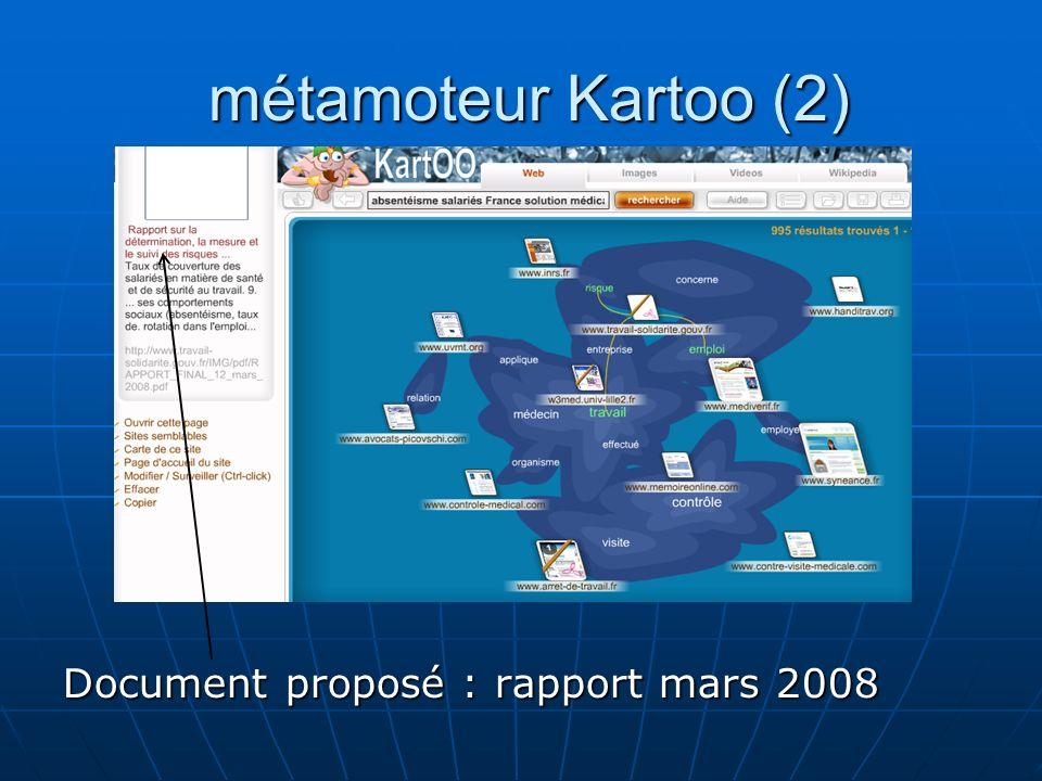 métamoteur Kartoo (2) Document proposé : rapport mars 2008