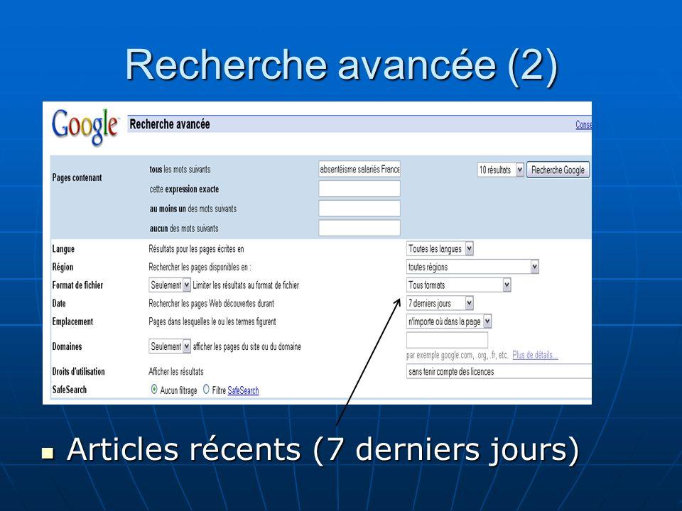 Recherche avancée (2) Articles récents (7 derniers jours)