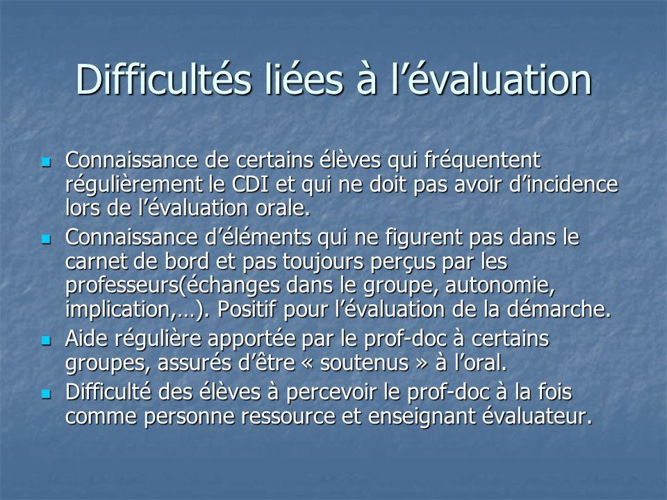 Difficultés liées à l'évaluation