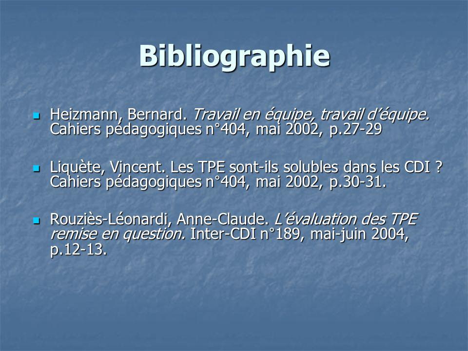 Bibliographie Heizmann, Bernard. Travail en équipe, travail d'équipe. Cahiers pédagogiques n°404, mai 2002, p.27-29.