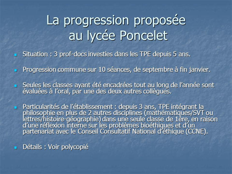 La progression proposée au lycée Poncelet