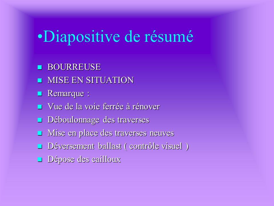 Diapositive de résumé BOURREUSE MISE EN SITUATION Remarque :