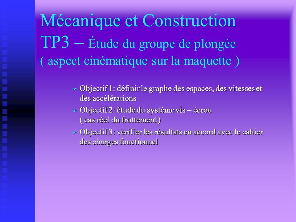 Mécanique et Construction TP3 – Étude du groupe de plongée ( aspect cinématique sur la maquette )
