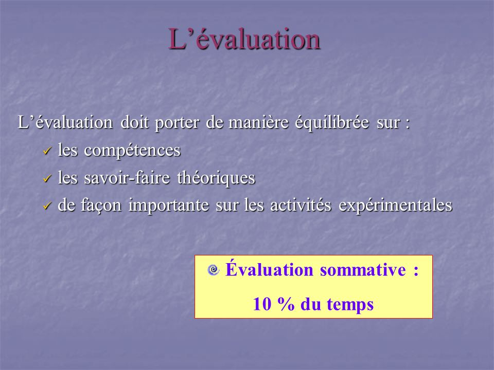 Évaluation sommative :