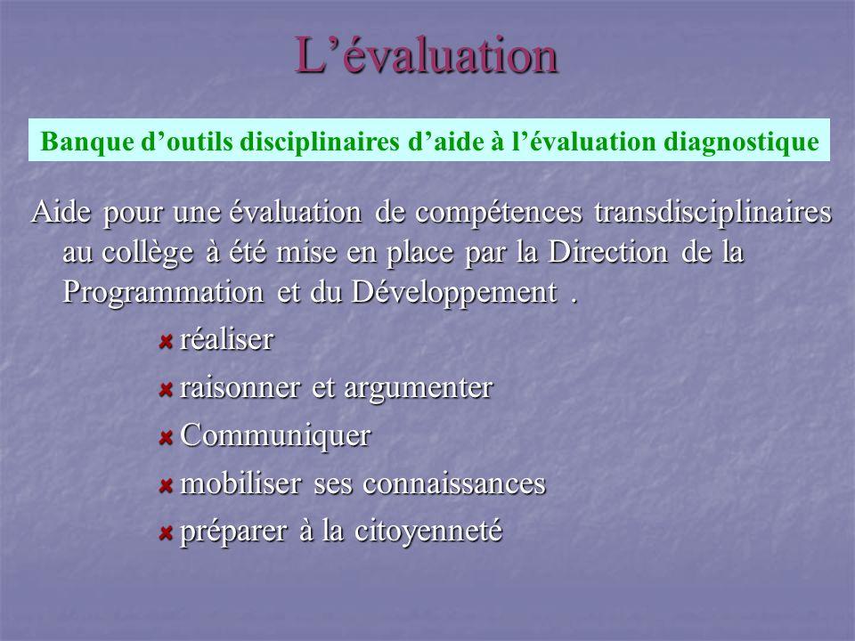 Banque d'outils disciplinaires d'aide à l'évaluation diagnostique