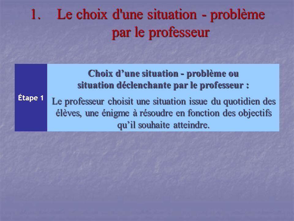 Le choix d une situation - problème par le professeur