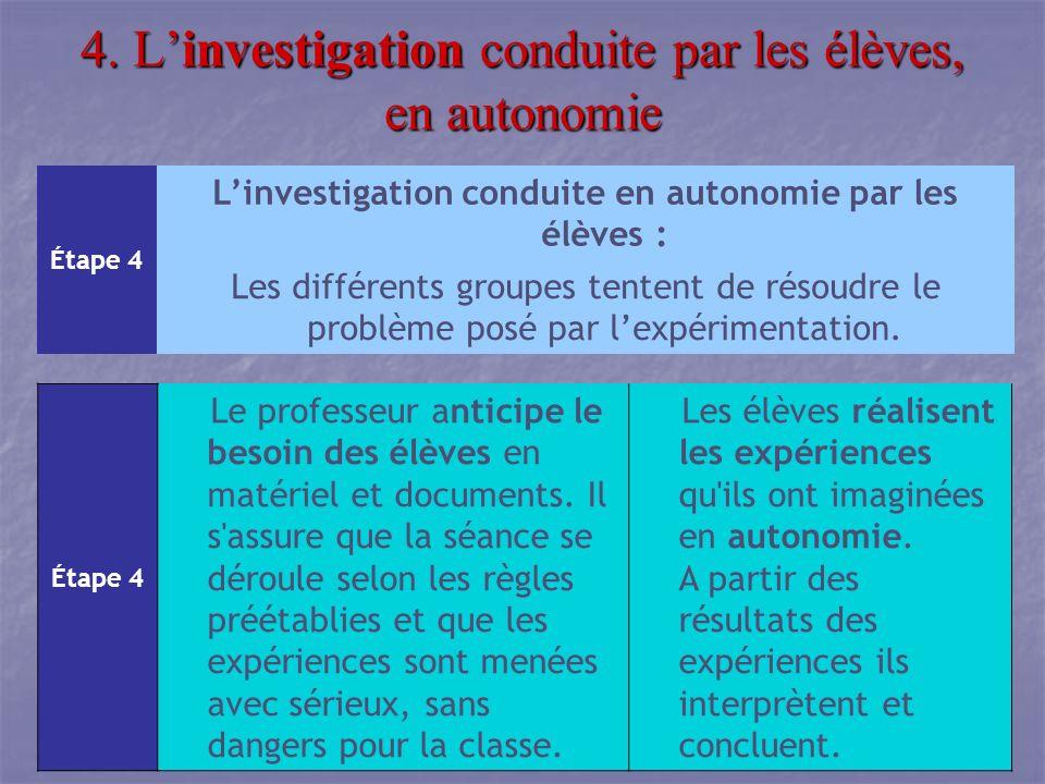 4. L'investigation conduite par les élèves, en autonomie