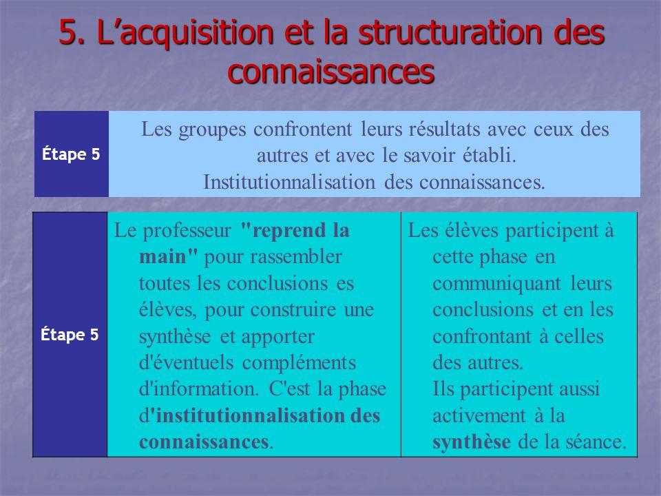 5. L'acquisition et la structuration des connaissances