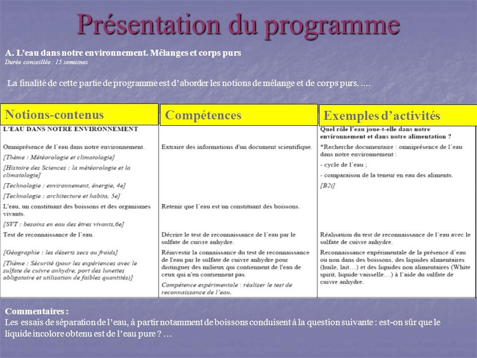 Présentation du programme