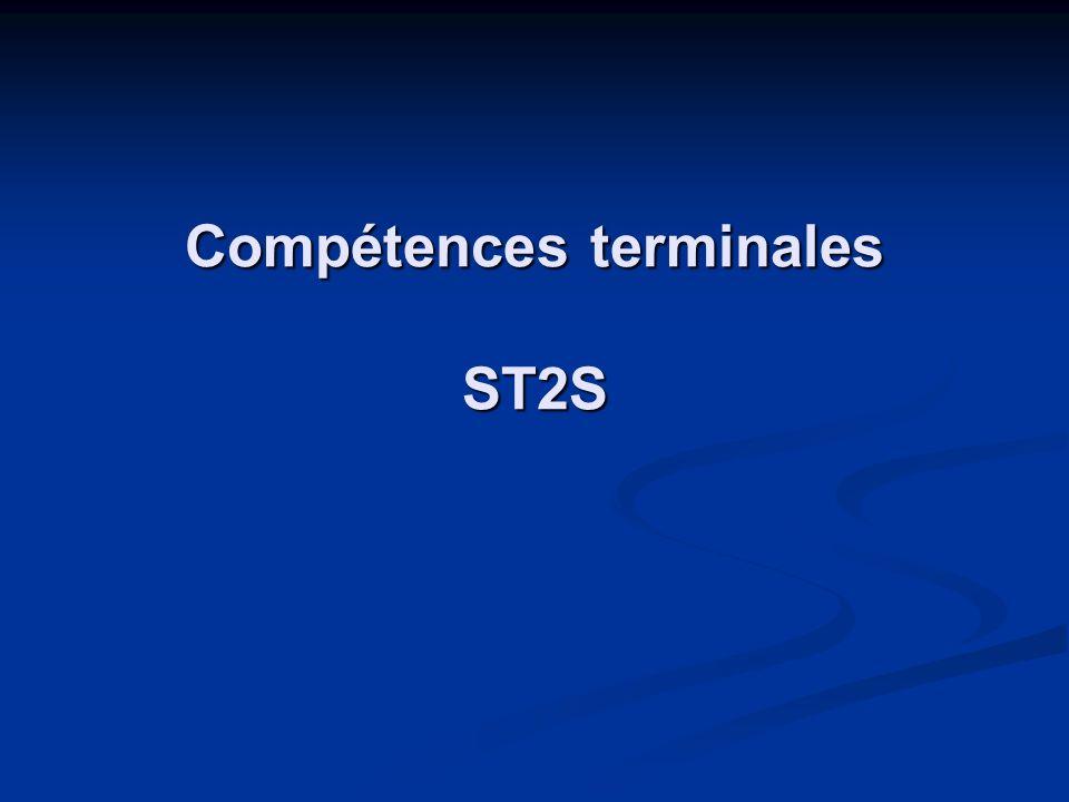 Compétences terminales ST2S