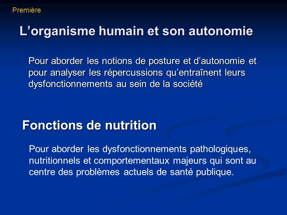 L'organisme humain et son autonomie