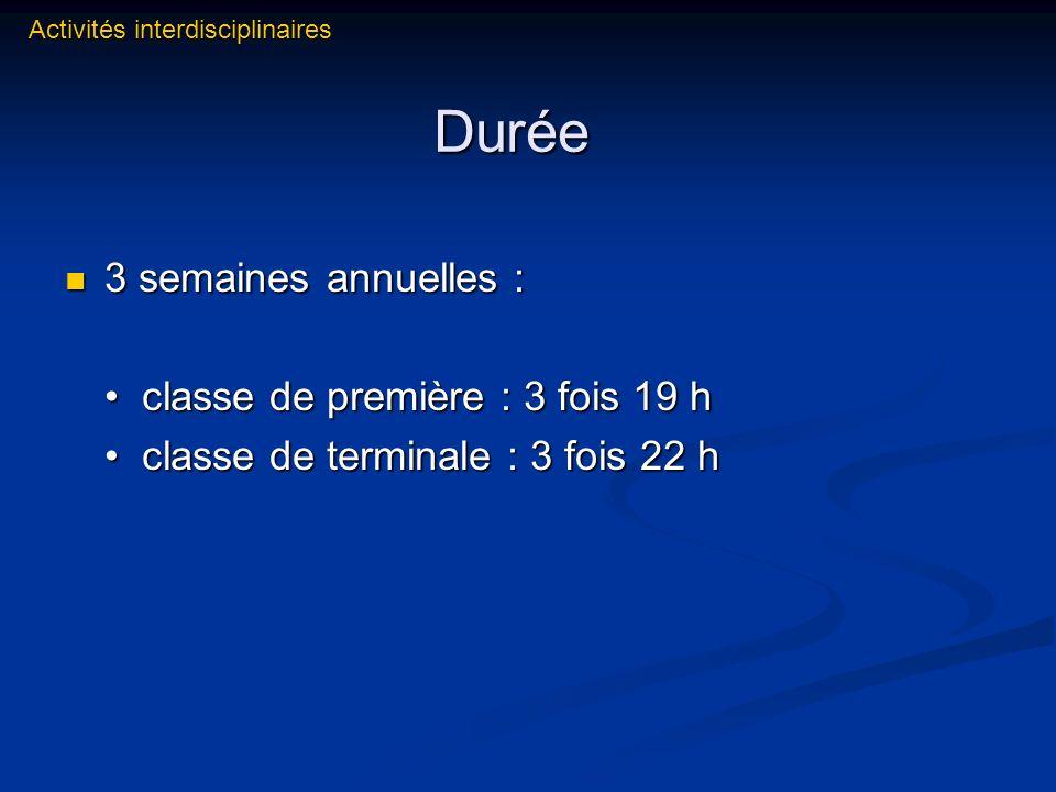 Durée 3 semaines annuelles : • classe de première : 3 fois 19 h