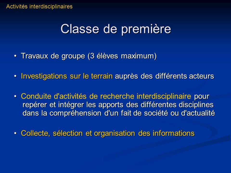 Classe de première • Travaux de groupe (3 élèves maximum)