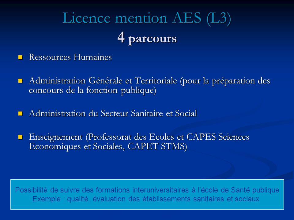 Licence mention AES (L3) 4 parcours