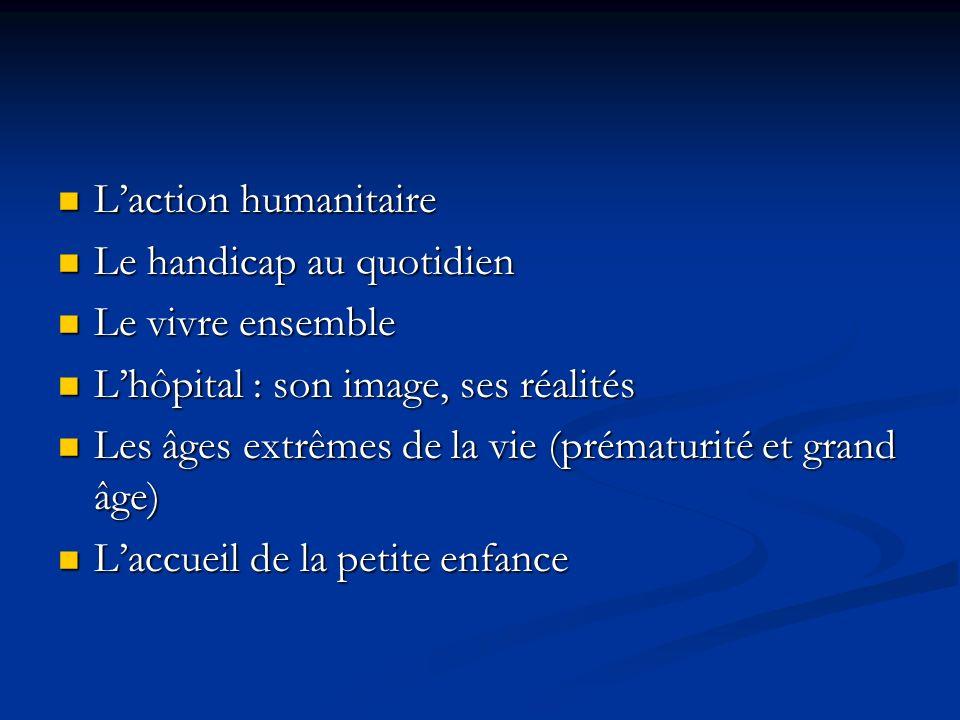 L'action humanitaire Le handicap au quotidien. Le vivre ensemble. L'hôpital : son image, ses réalités.