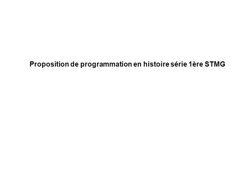 Proposition de programmation en histoire série 1ère STMG