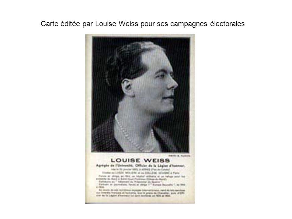 Carte éditée par Louise Weiss pour ses campagnes électorales