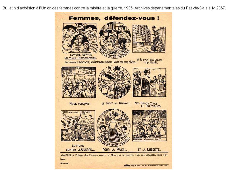 Bulletin d'adhésion à l'Union des femmes contre la misère et la guerre, 1936.