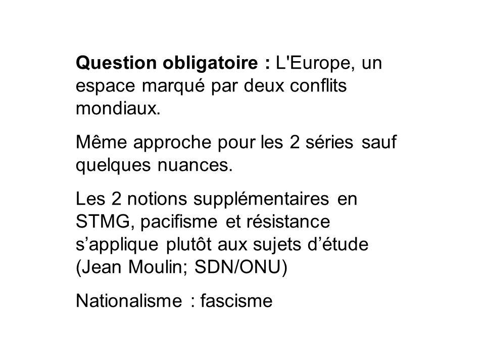 Question obligatoire : L Europe, un espace marqué par deux conflits mondiaux.