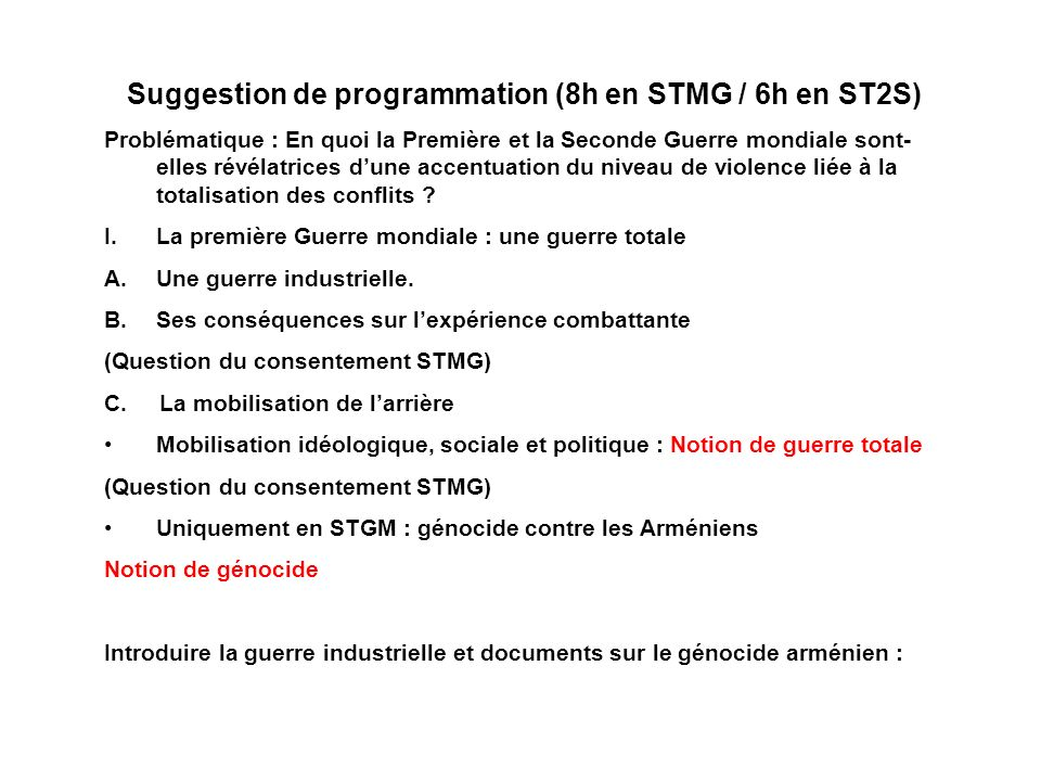 Suggestion de programmation (8h en STMG / 6h en ST2S)