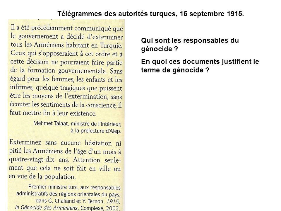 Télégrammes des autorités turques, 15 septembre 1915.