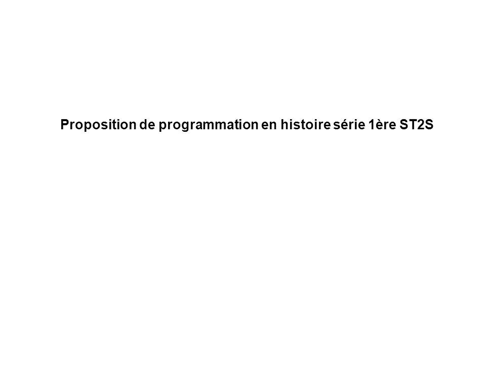 Proposition de programmation en histoire série 1ère ST2S