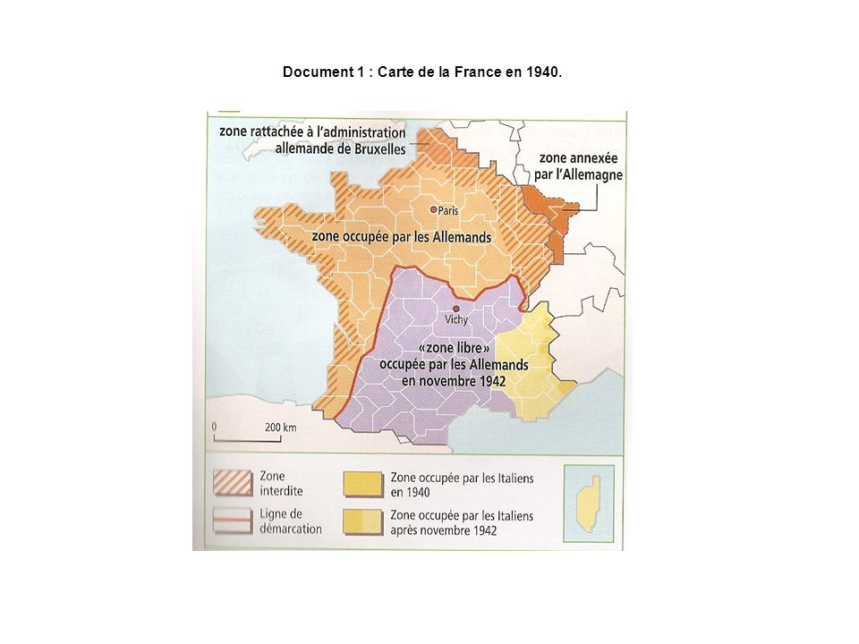 Document 1 : Carte de la France en 1940.