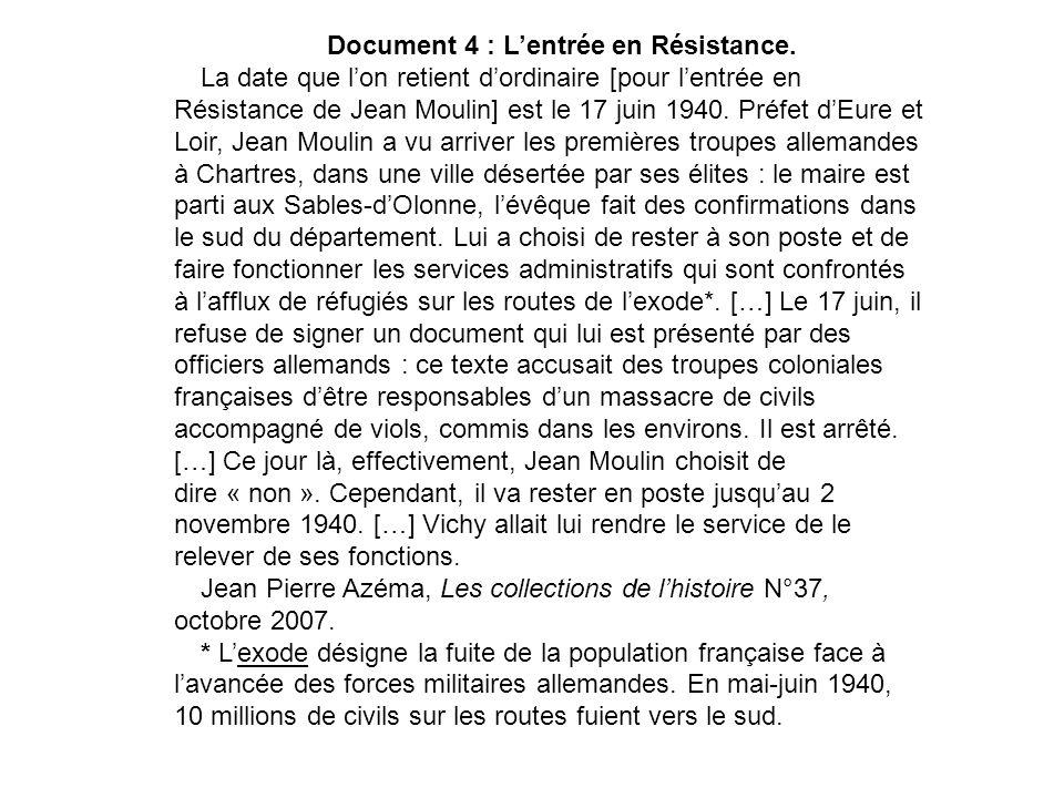 Document 4 : L'entrée en Résistance.