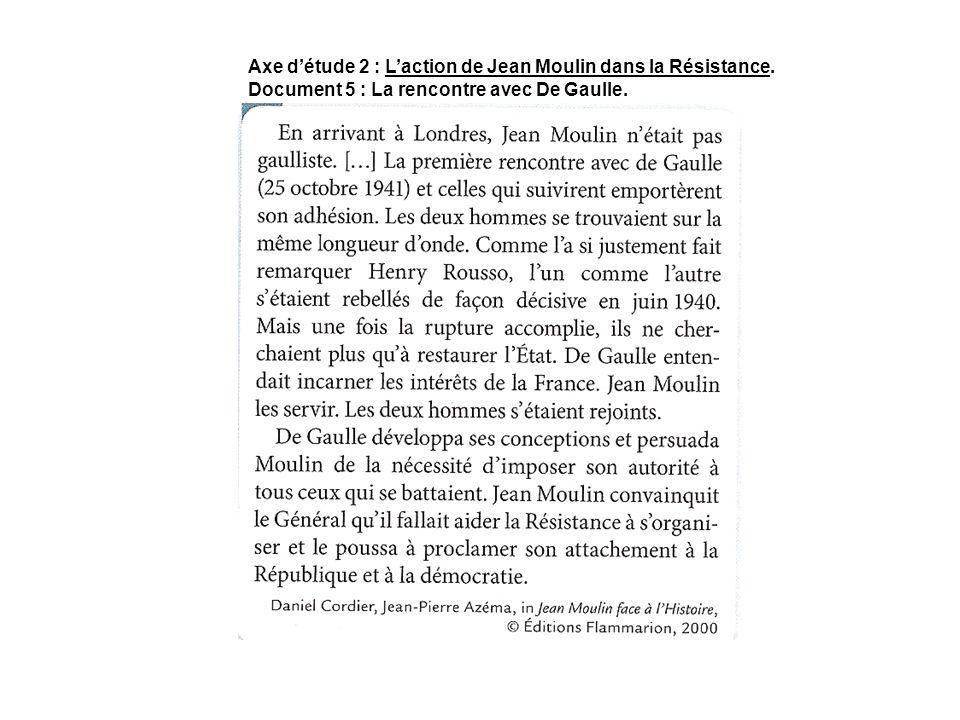 Axe d'étude 2 : L'action de Jean Moulin dans la Résistance.