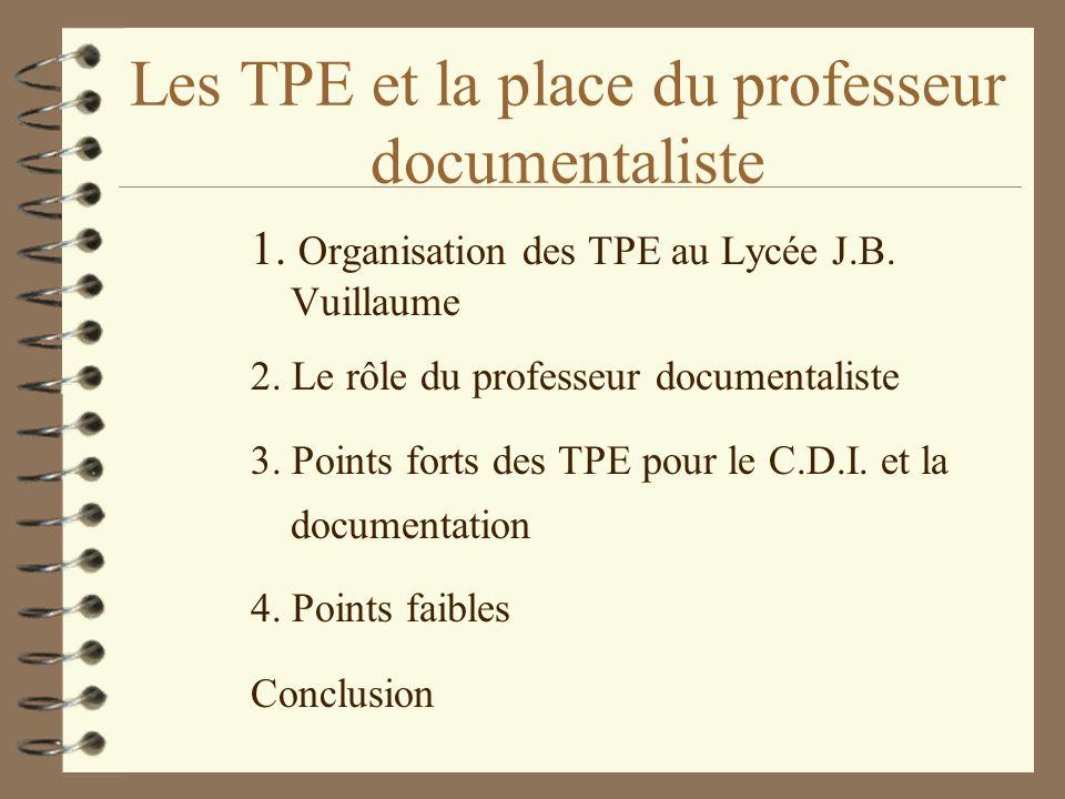 Les TPE et la place du professeur documentaliste