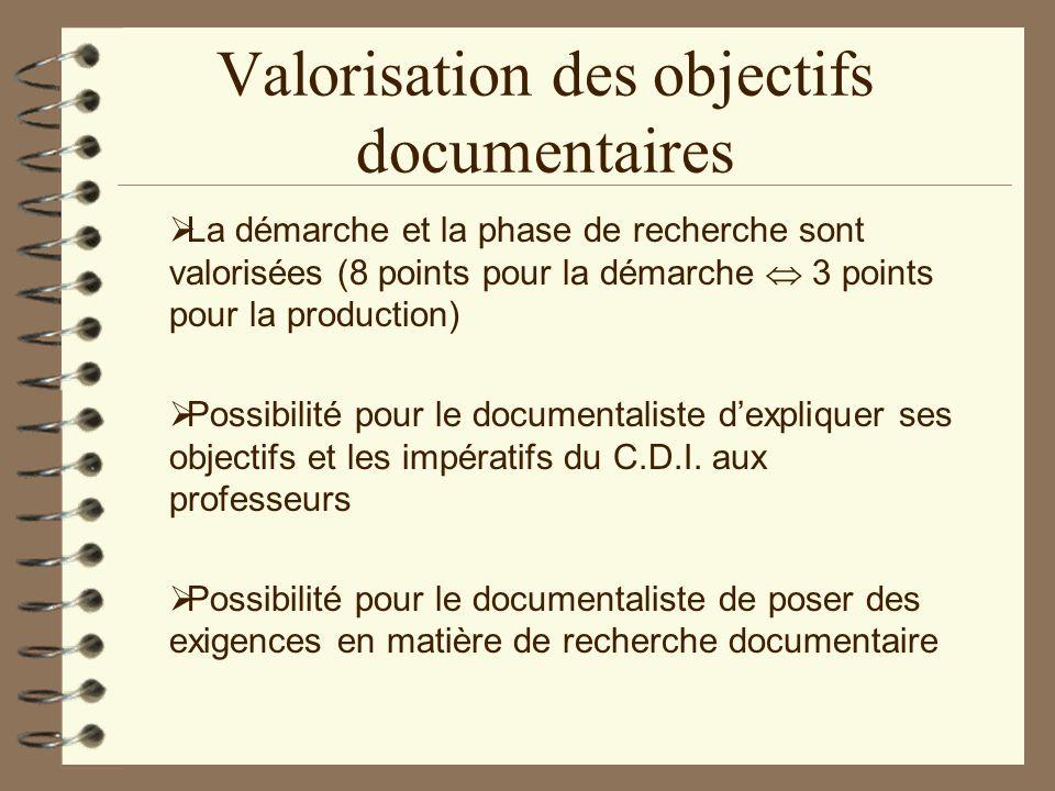Valorisation des objectifs documentaires