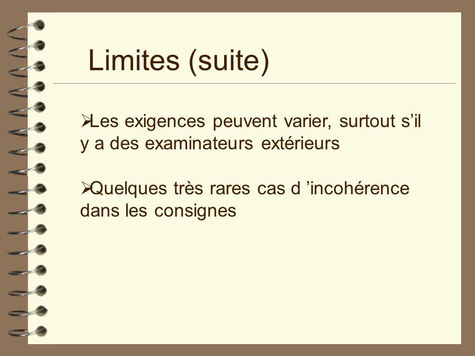 Limites (suite) Les exigences peuvent varier, surtout s'il y a des examinateurs extérieurs.